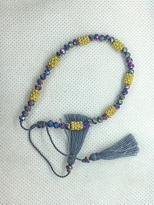 Purple and gold tassel bracelets