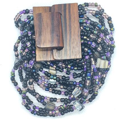 16 strand Purple wooden clasp Bracelet