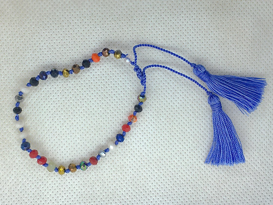 Adjustable tassel bracelet blue