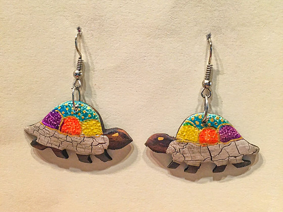 Silver on the bottom  Walking Turtle Wooden Earring