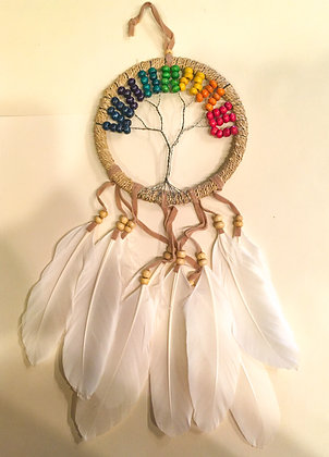 White feather rainbow tree of life