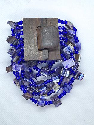 6 strand blue wooden clasp Bracelet