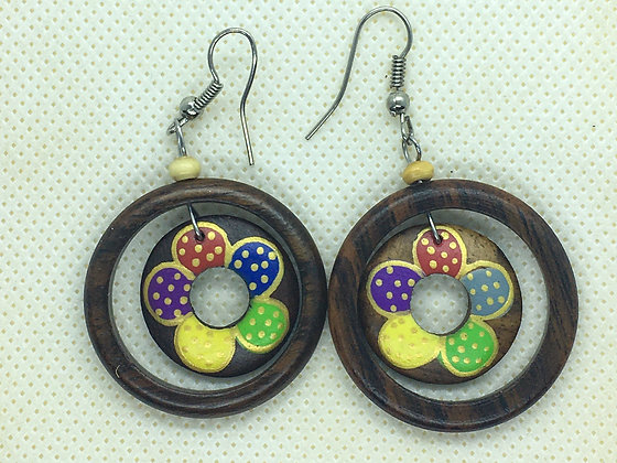 Wood circle with flower earring