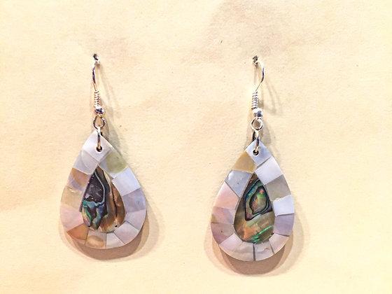 White Tear Drop Shell Earrings