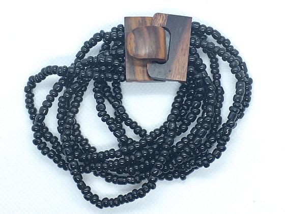 8 strand black wooden clasp Bracelet
