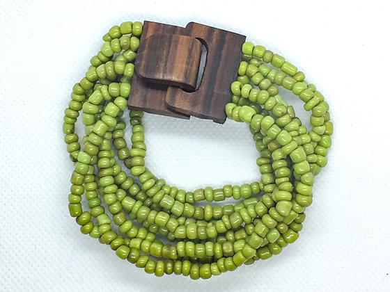 8 strand green wooden clasp Bracelet