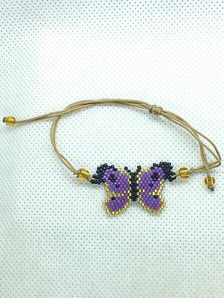 Purple Butterfly Beaded String Bracelet
