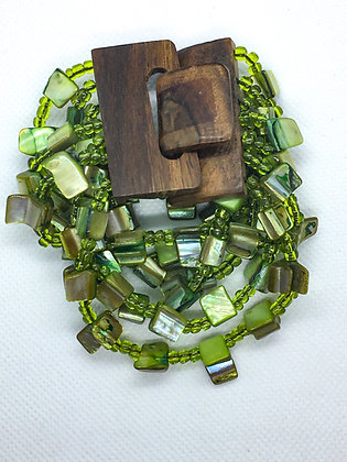 6 strand green wooden clasp Bracelet