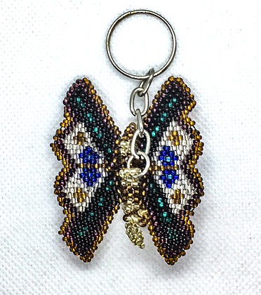 Beaded brown butterfly keychain