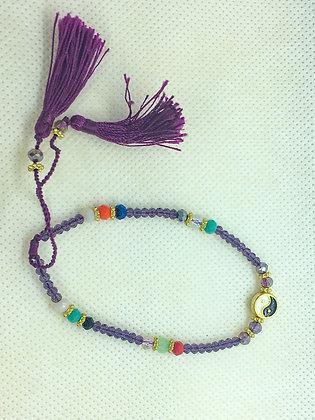 Yin Yang String Bracelet Purple