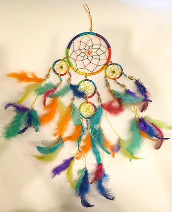 Silk rainbow dreamcatcher with shells