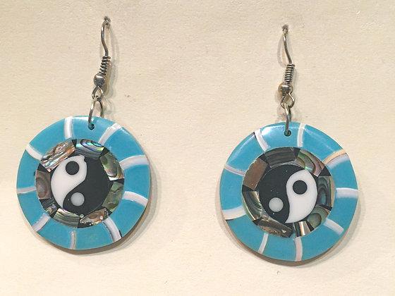 Blue YinYang Shell Earring