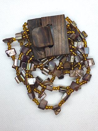 6 strand brown wooden clasp Bracelet