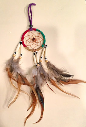 Small tricolored suede dreamcatchers
