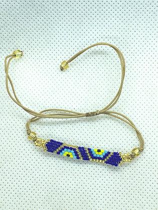 Blue Beaded String Bracelet
