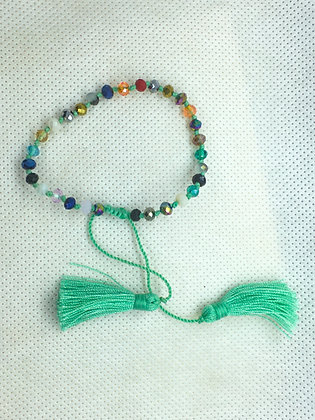 Adjustable tassel bracelet aqua