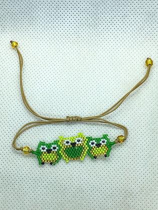 Green Triple Owl Beaded bracelet