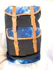 BIG FIELD BAG IN CORDUROY WITH TIE DYE AND LEATHER TRIM