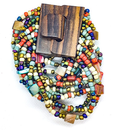 16 strand multicolored wooden clasp Bracelet