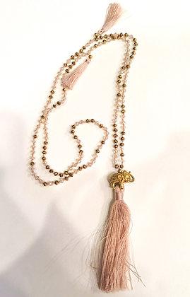 Pinkish beige elephant tassel necklace