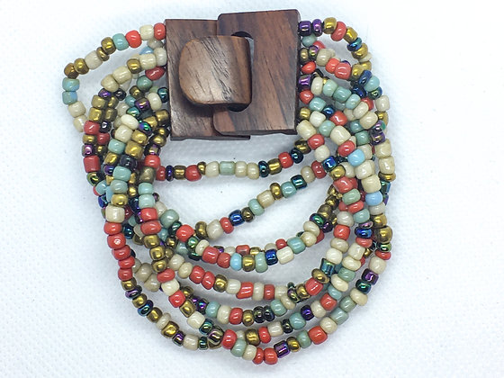 8 strand multicolored wooden Clasp Bracelet