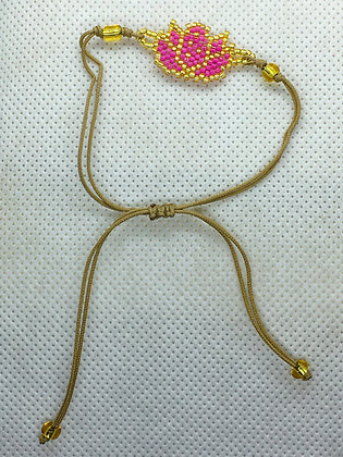 Pink Beaded Lotus flower String Bracelet