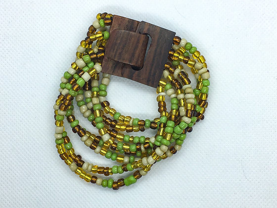 8 strand green multicolored  wooden clasp Bracelet