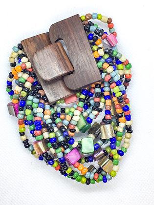 16 strand rainbow wooden clasp Bracelet
