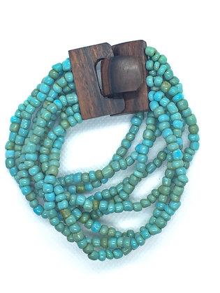 8 strand blue wooden clasp bracelet