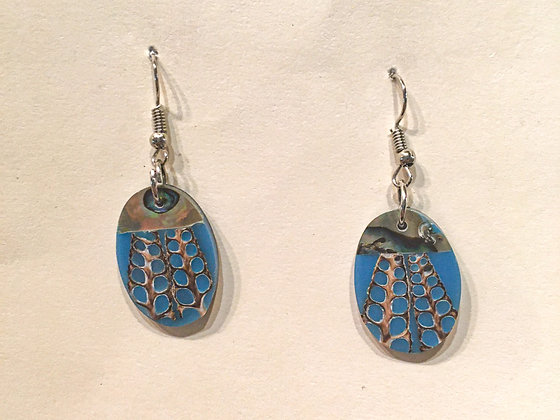 Blue shell oval earring