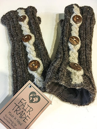 Brown 3 Botton Fingerless Gloves