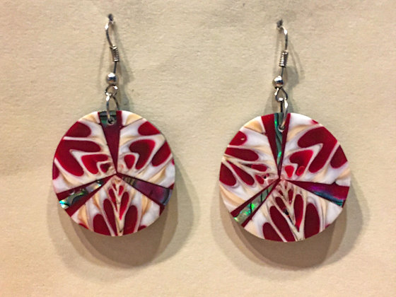 Red and white shell earring
