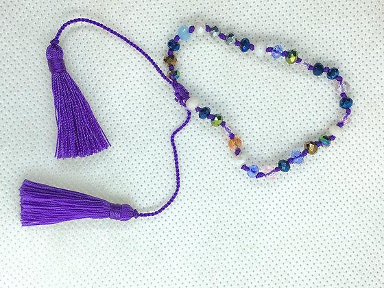 Adjustable tassel  bracelet purple