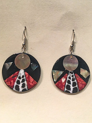 Black and Red Shell Earrings