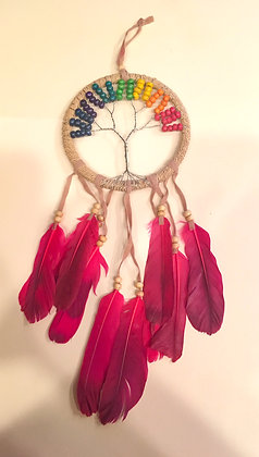Pink feather rainbow tree of life