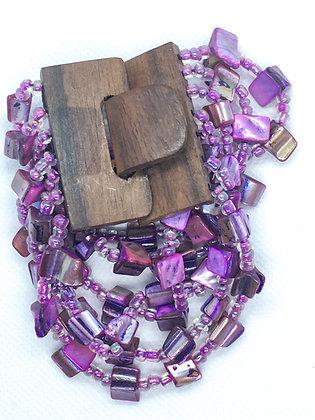 6 strand purple wooden clasp Bracelet