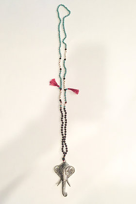 Maroon tassel elephant head necklace