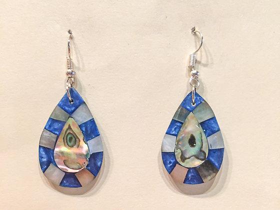 Blue Tear Drop Shell Earrings