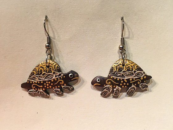 Brown and gold Walking Turtle Wooden Earring