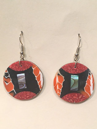 Red and Orange Shell Earrings