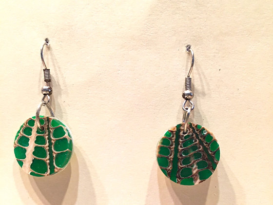 Green Small Round Earring