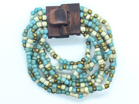 8 strand blue and gold  wooden clasp Bracelet
