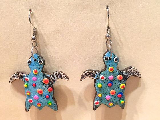 Blue swimming  turtle wooden earring