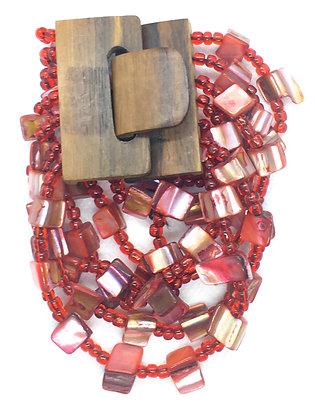 6 strand red wooden clasp Bracelet