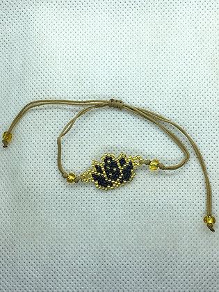 Black Beaded Lotus flower String Bracelet