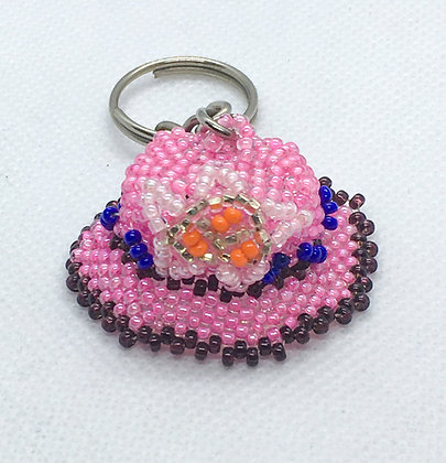 Beaded pink hat keychain