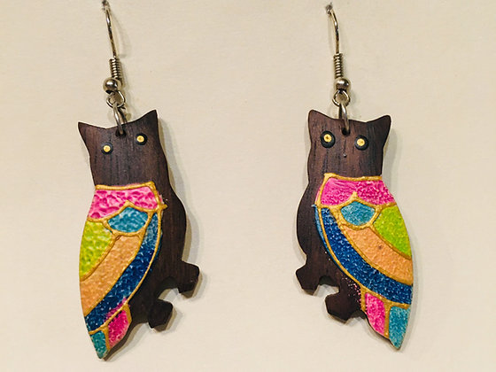 Rainbow Owl Wooden Earring