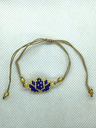 Blue Beaded Lotus flower String Bracelet