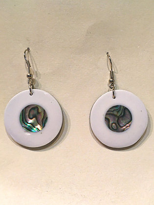 White Circle Inside Circle Earrings