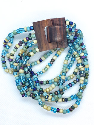 8 strand blue and white wooden clasp Bracelet